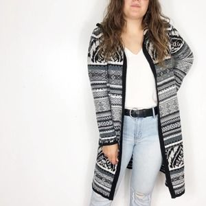SPENSE | Black Gray Southwestern Tribal Coatigan